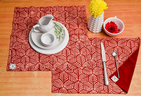 Table Set with Natural Dye- Red Mosaic Motif Hand Block Printed Cotton