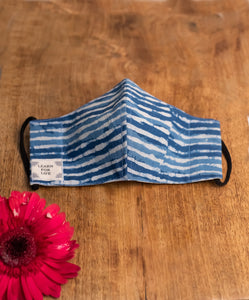 Round Face Mask for Children with Natural dye - Blues Stripes Motif Hand-Block Printed Cotton