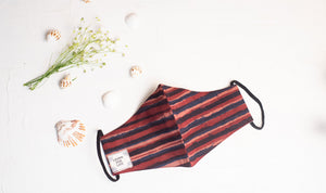 Round Face Mask with Natural dye - Reddish Stripes Motif Hand-Block Printed Cotton