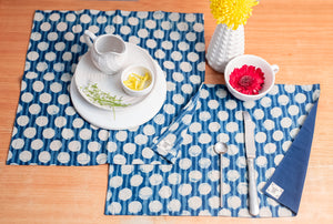 Table Set with Natural Dye- Dots Motif Hand Block Printed Cotton