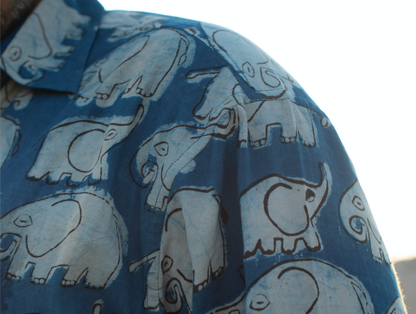 Men's Shirt Short Sleeve Natural Dye - Elephant Motif Hand-Blockprinted Cotton