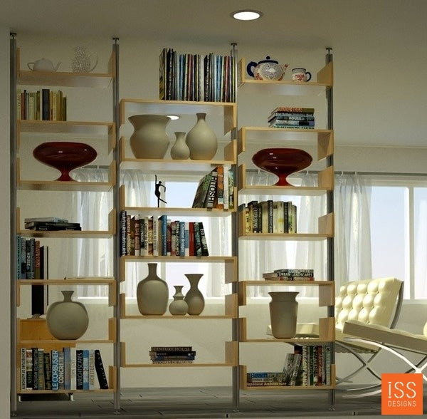 "99"" Wide Room Divider - Shelves with Sides"
