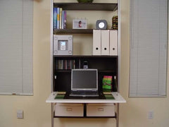 "33"" Wide Single Bay Fold Down Desk With Shelves"