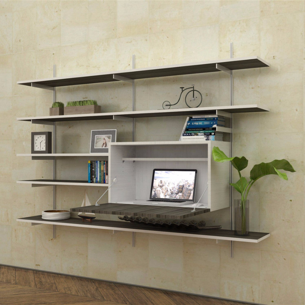 sale item wall mounted fold down desk with shelves