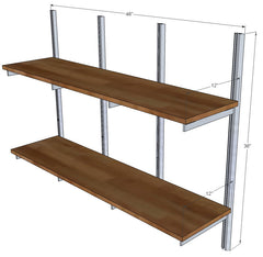 "48"" Wide Three Bay Wall Mounted Shelves with Designer Standards and Brackets"