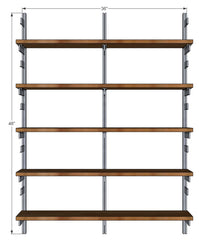 "36"" Wide Two Bay Wall Mounted Shelves with Standards and Brackets"