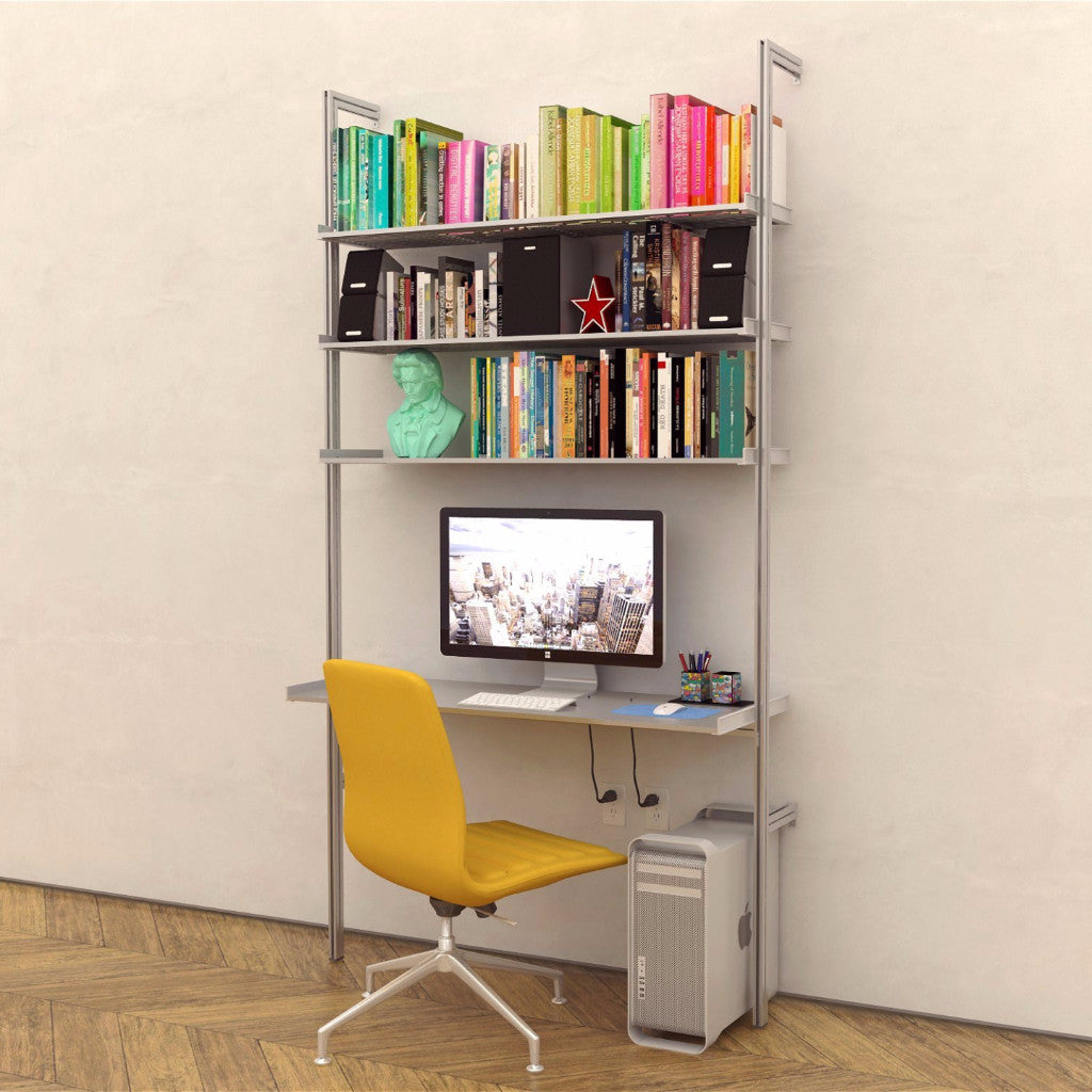 PAL50 Single Bay Aluminum Desk with Upper Shelves
