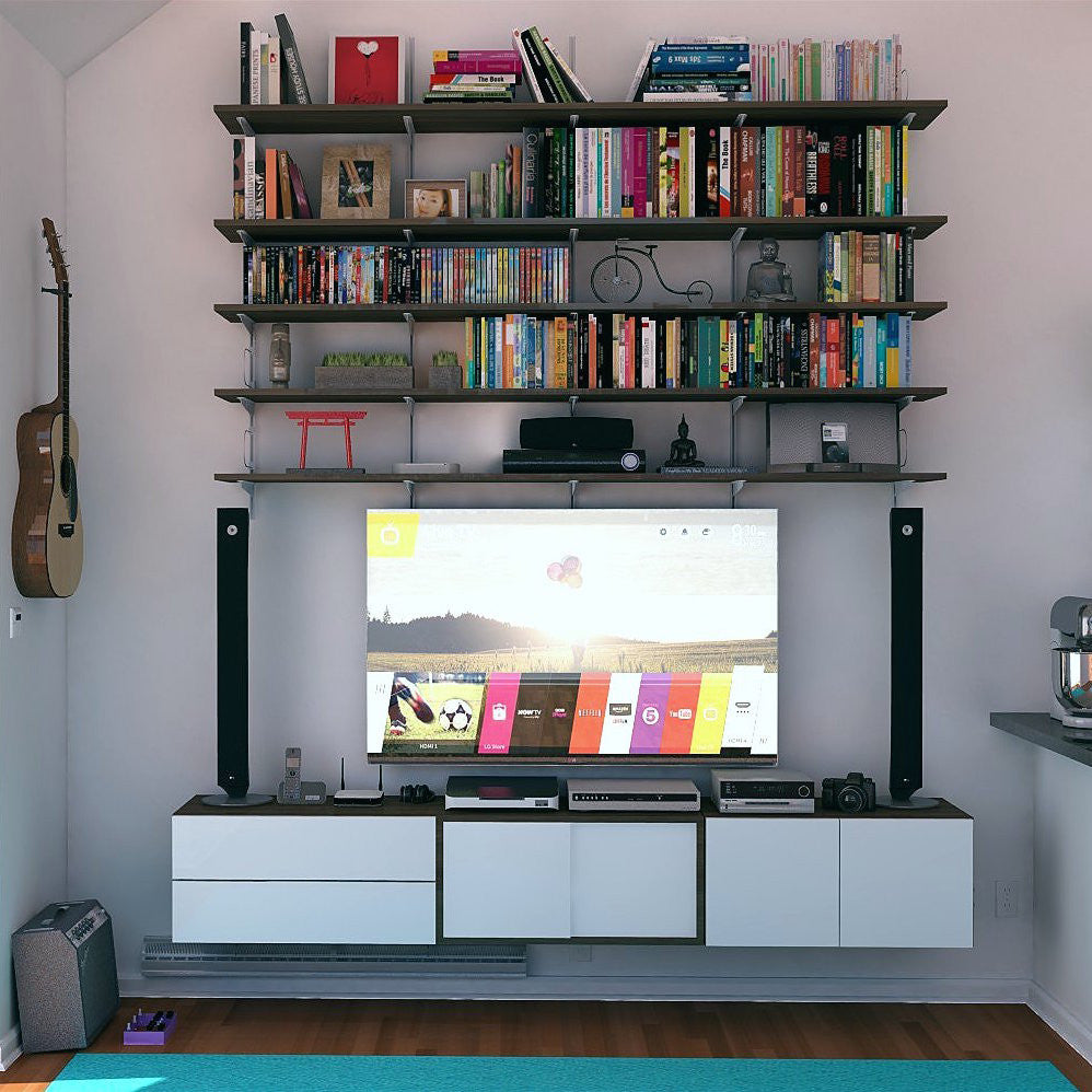 Wall Mounted Media Center with Shelving and closed Storage