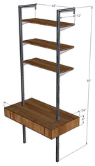 "44"" Wide Single Bay Floating Desk with Upper Shelves"