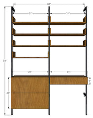 "65"" Wide Single Desk Drawer Cabinet with Lateral File Cabinet and Upper Shelves with Sides"
