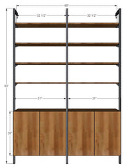 "65"" Wide Two Bay Unit with Base Cabinets and Upper Shelves"
