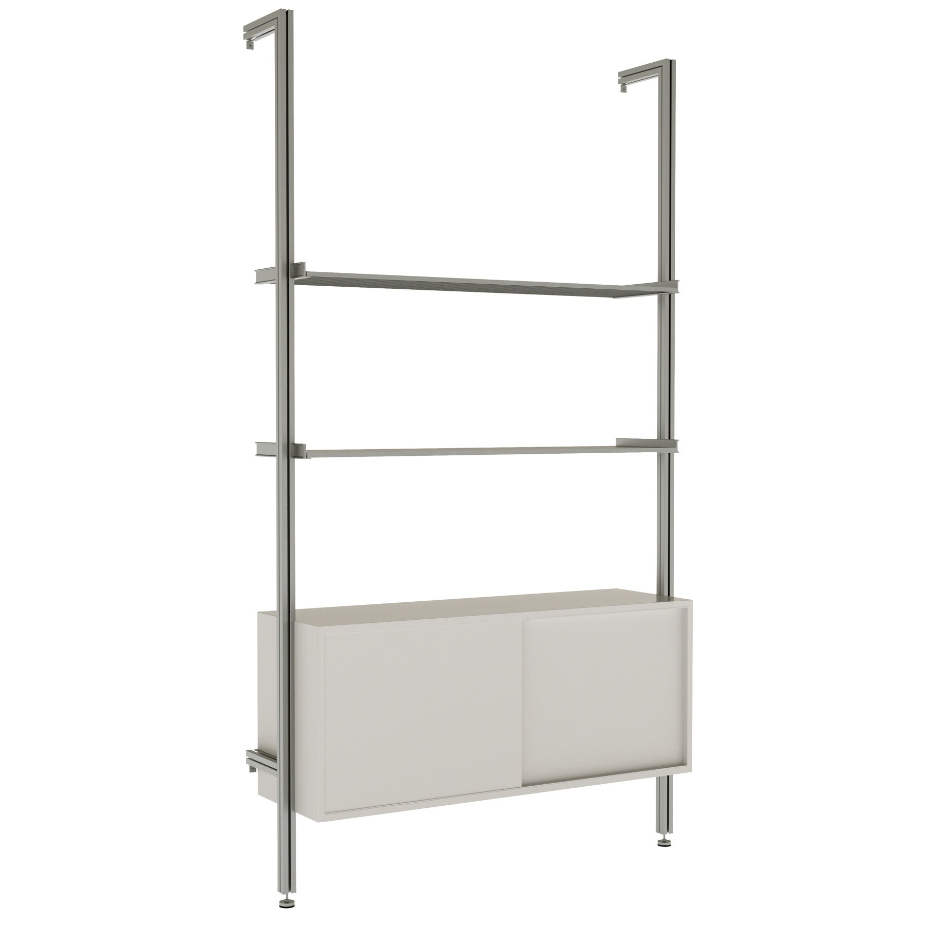 3Bay RAD  Pole Mounted Aluminum Shelving With Sliding Door Cabinets