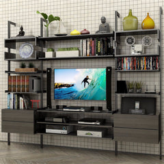 2 Bay Pole Mounted Media Wall with 2-Drawer Cabinet