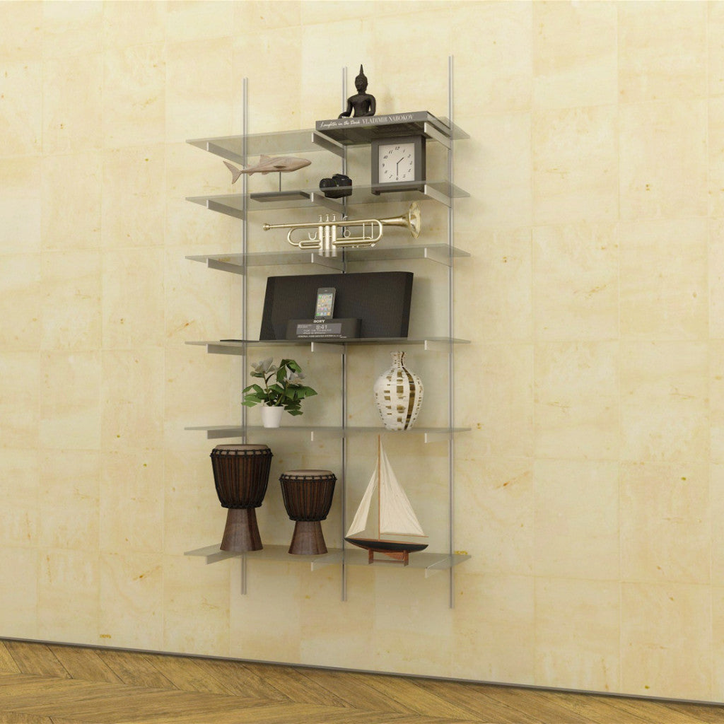 Wal Support Hardware Only 2 Bay Standards And Brackets For Glass Shelves