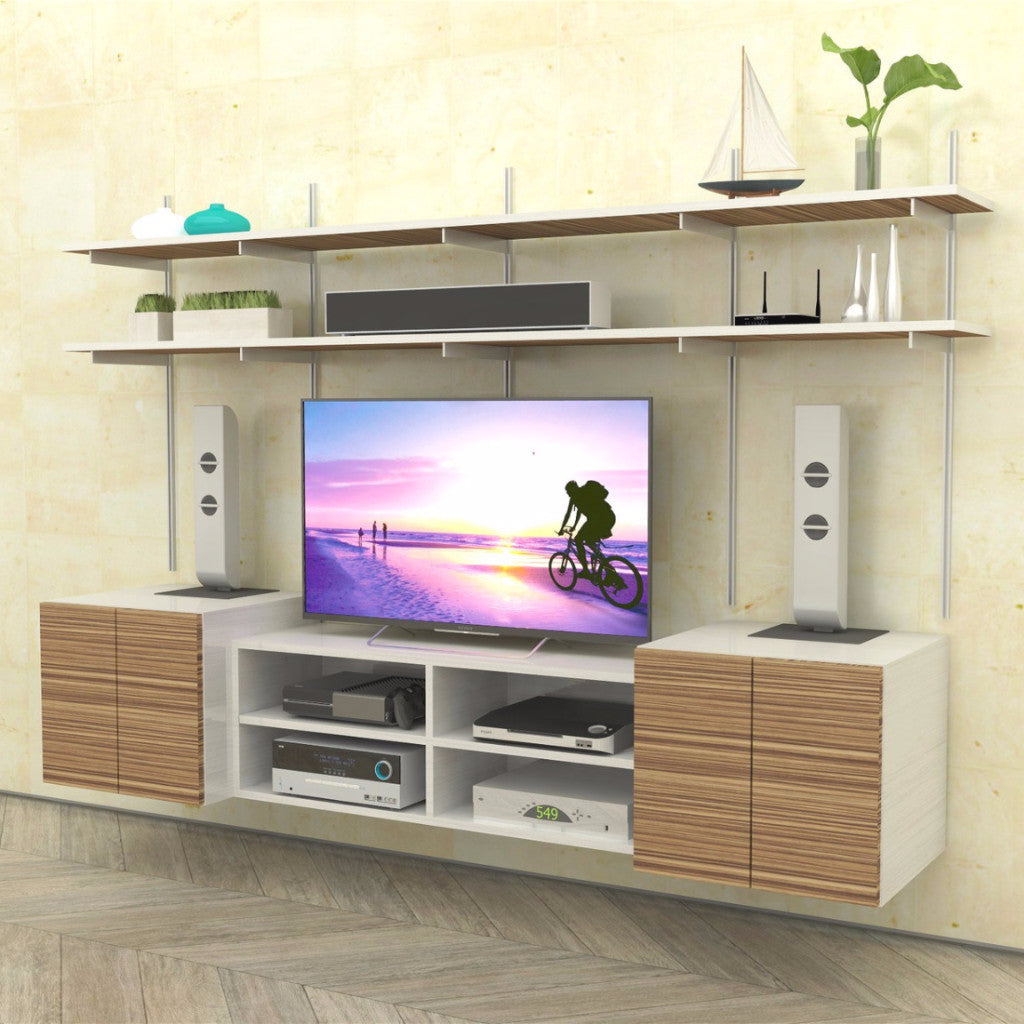 Wall Mounted Media Center with Open Box Cabinet – Modern Shelving