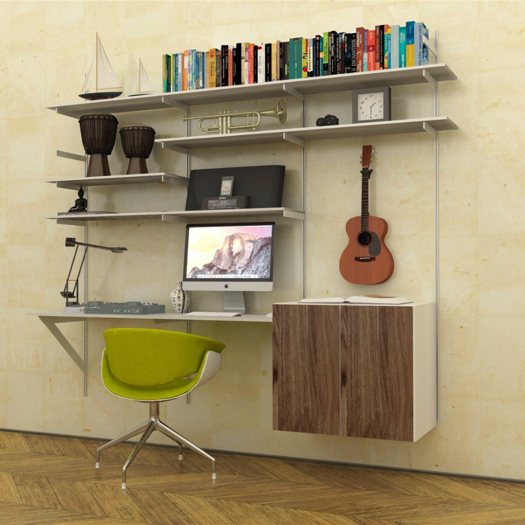 Wall Mounted Aluminum Desk With Shelves And 2 Door Cabinet Modern