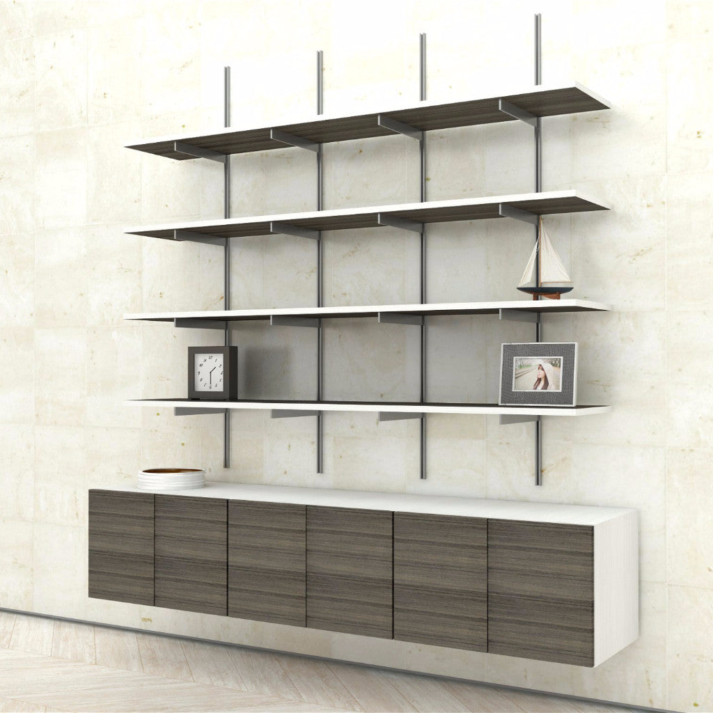 Wall Mounted Shelves With Cabinets 3 Bay