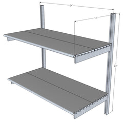 "24"" Wide Single Bay Wall Mounted Shelves with Standards and Brackets"
