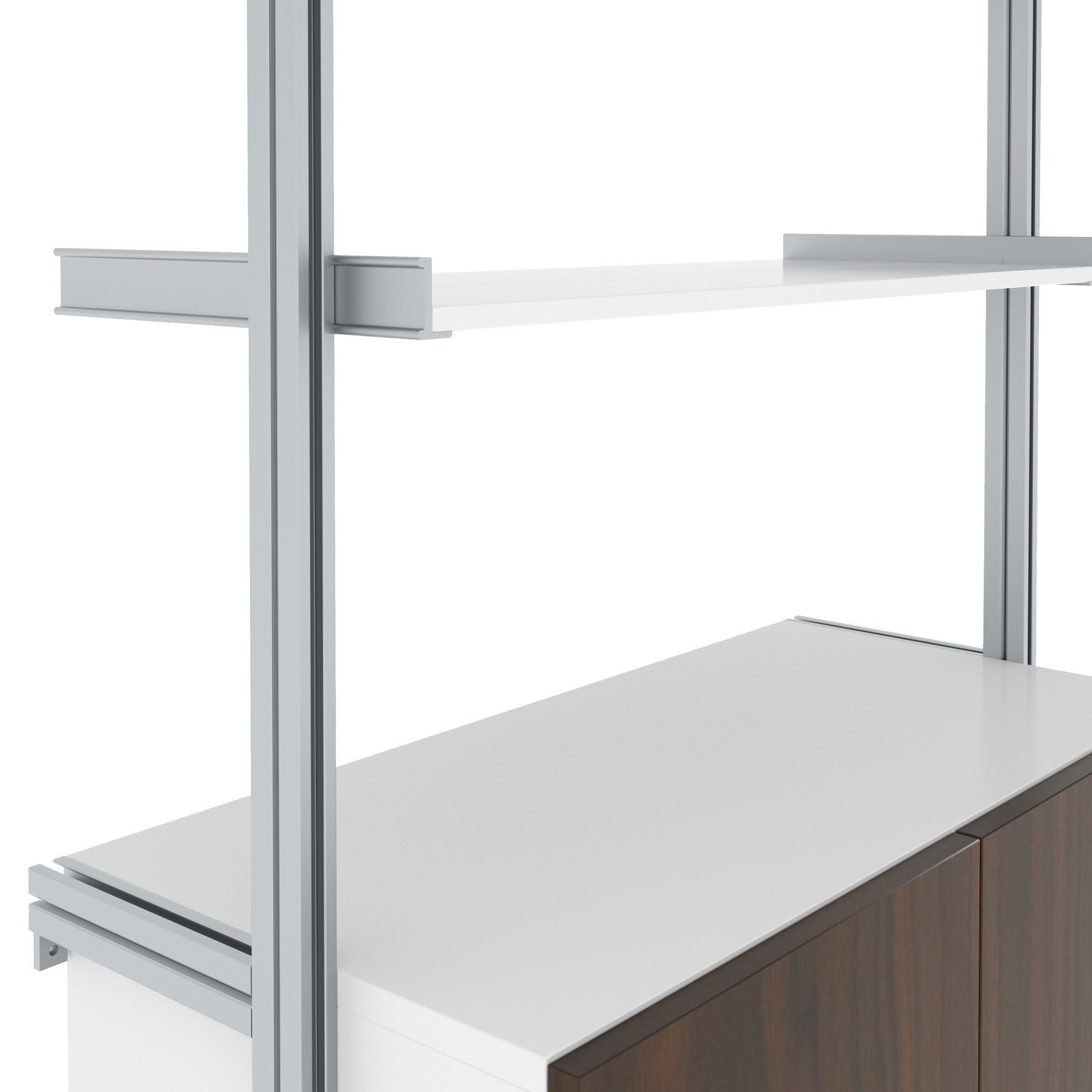 3Bay RAD- Pole Mounted Aluminum Shelving with Sliding Door Cabinets