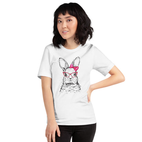 Easter Bunny Face With Bandana Sunglasses Easter Rabbit Girl T-Shirt