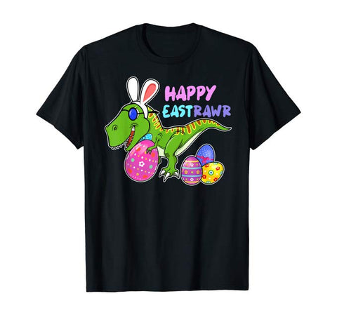 Happy Eastrawr T-rex With Beautiful Eggs Easter Day