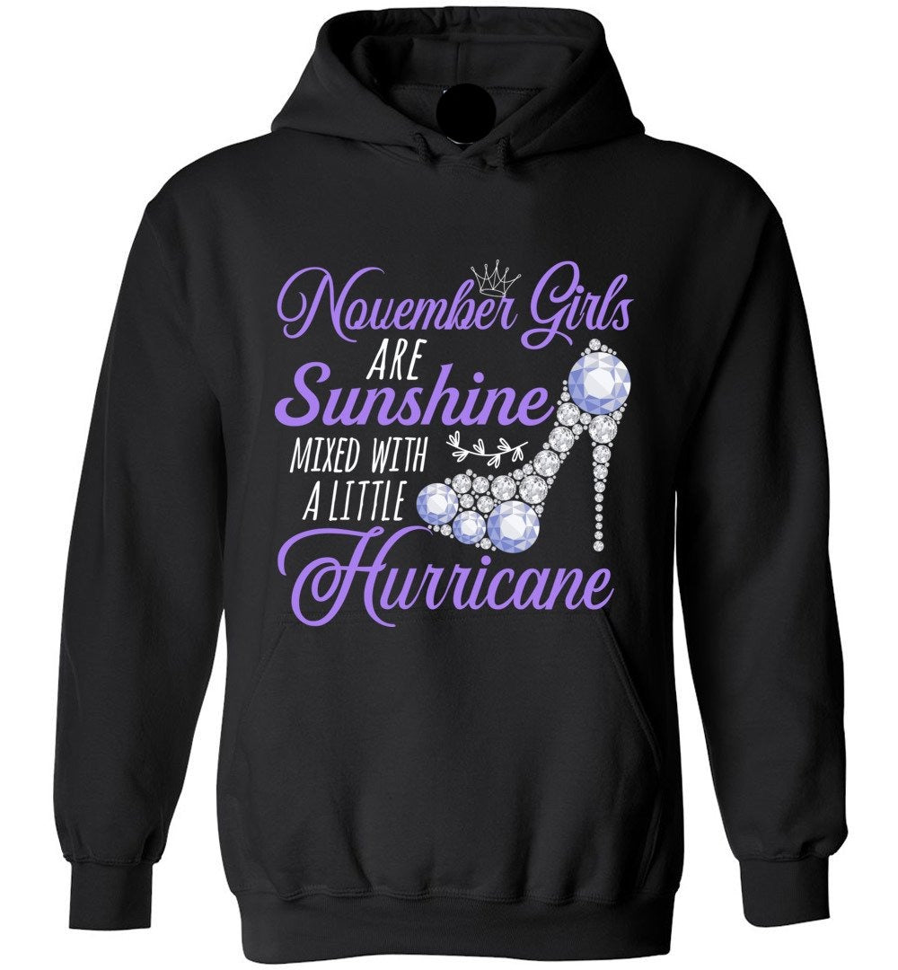 Cute November Girls Are Sunshine Mixed With A Little Hurricane - Heavy Blend Hoodie - Make better shirt