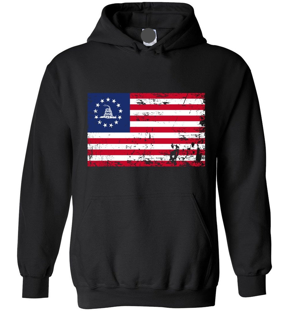 Patriotic Politically Incorrect Betsy Ross Flag 1776 Gadsden - Blend Hoodie - Make better shirt