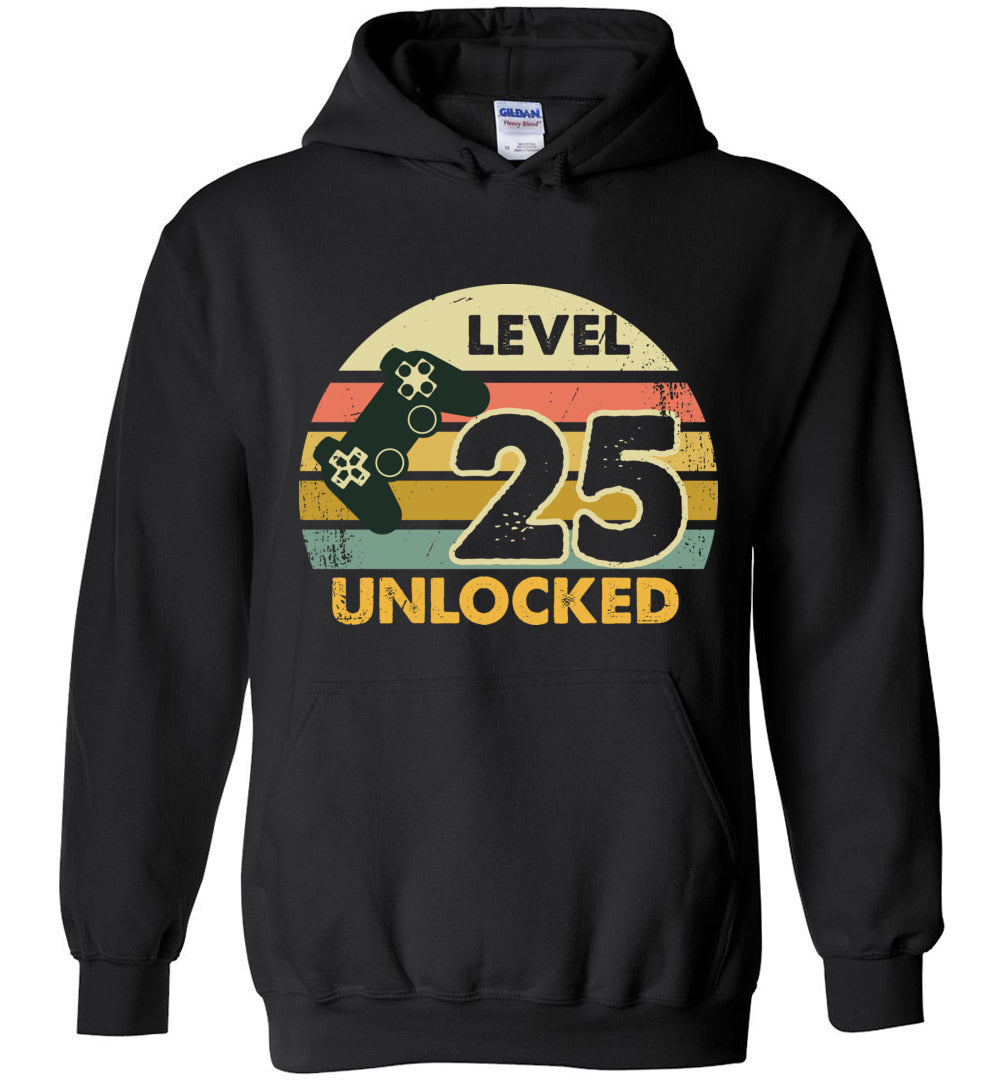Level 25 Unlocked 25Th Birthday Gift Funny Video Game Heavy Blend Hoodie - Make better shirt
