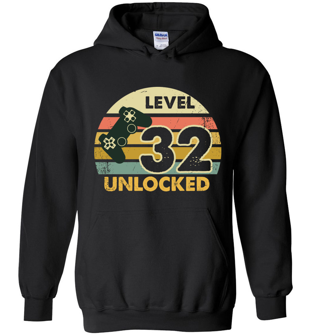 Level 32 Unlocked - 32ND Birthday Gift Funny Video Game: Gildan Blend Hoodie - Make better shirt