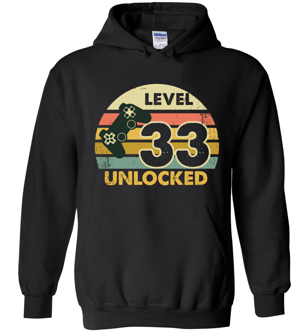 Level 33 Unlocked 33RD Birthday Gift Funny Video Game Heavy Blend Hoodie - Make better shirt