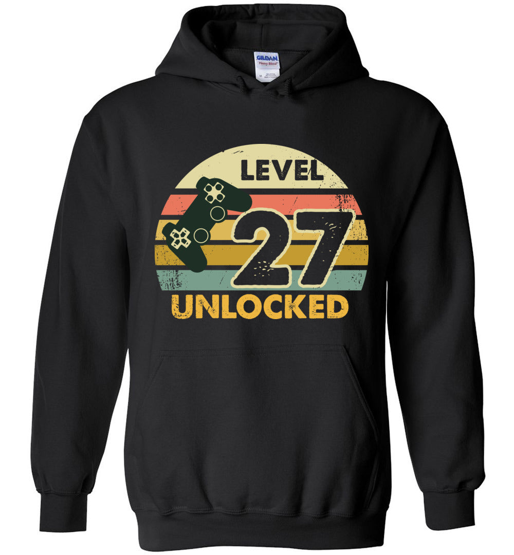 Level 27 Unlocked 27Th Birthday Gift Funny Video Game Heavy Blend Hoodie - Make better shirt