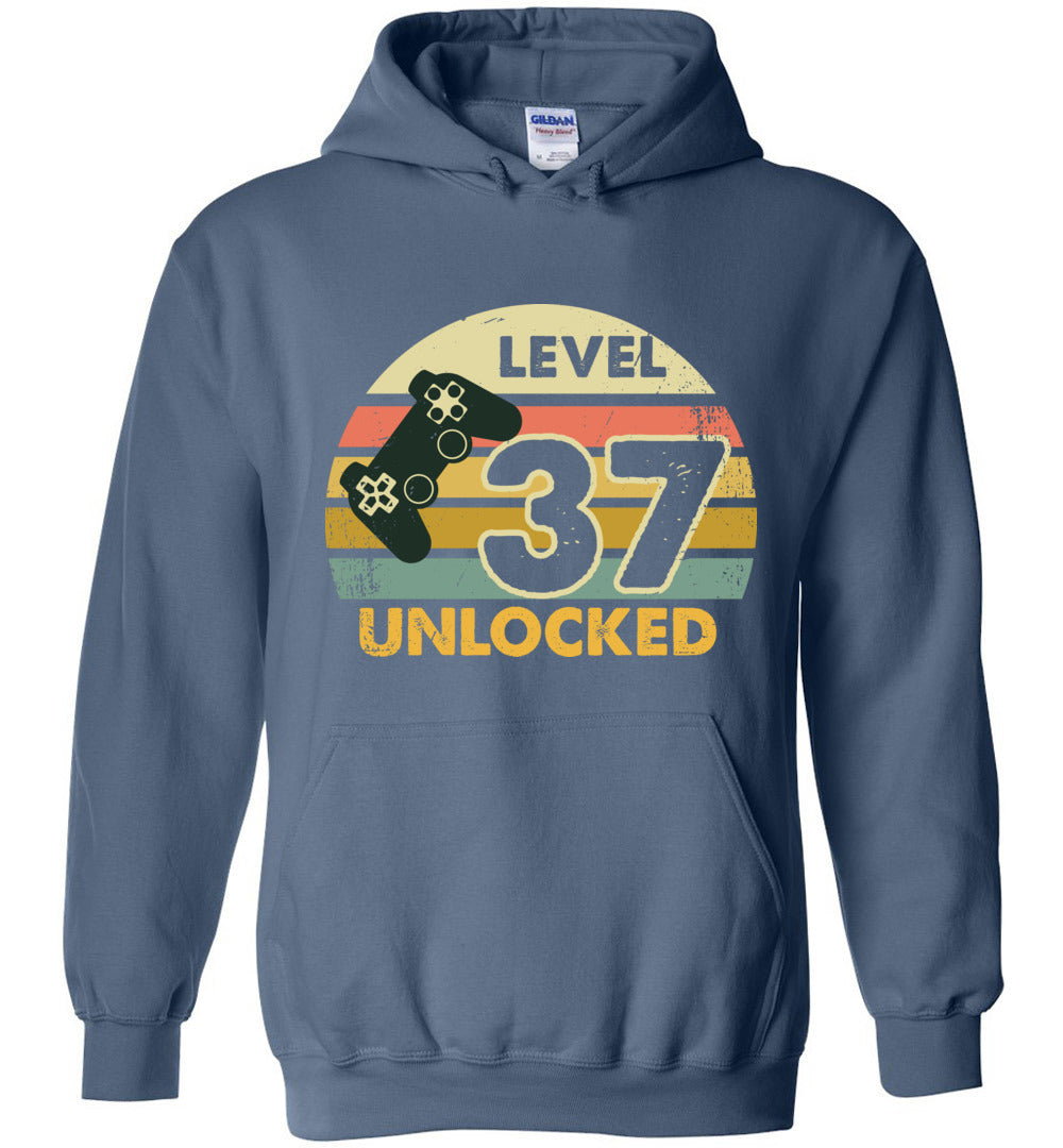 Level 37 Unlocked 37Th Birthday Gift Funny Video Game Heavy Blend Hoodie - Make better shirt