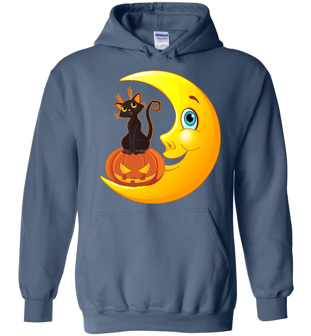 Funny Haloween Cat And Moon – Cute Men and Women Gift Idea - Heavy Blend Hoodie - Make better shirt