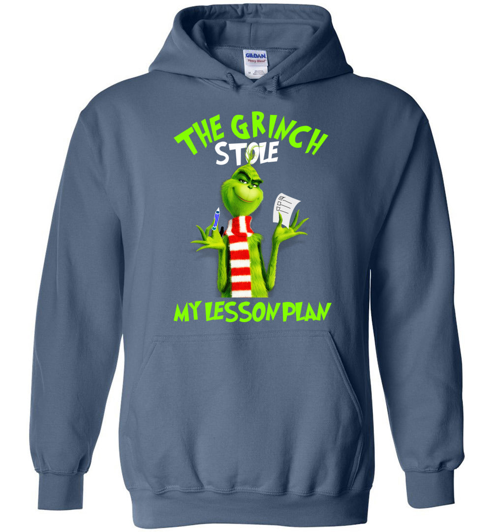The Grinch Stole My Lesson Plan - Funny Christmas Teachers Gift Idea - Heavy Blend Hoodie - Make better shirt