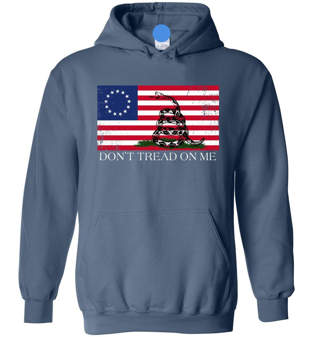 Don't Tread On Me Funny Chriss and Pratts Gadsden-Flag, America Betsy Ross Flag - Hoodie - Make better shirt
