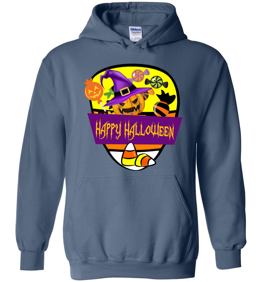 Happy Halloween Candy - Funny Men And Women Outfits - Heavy Blend Hoodie - Make better shirt