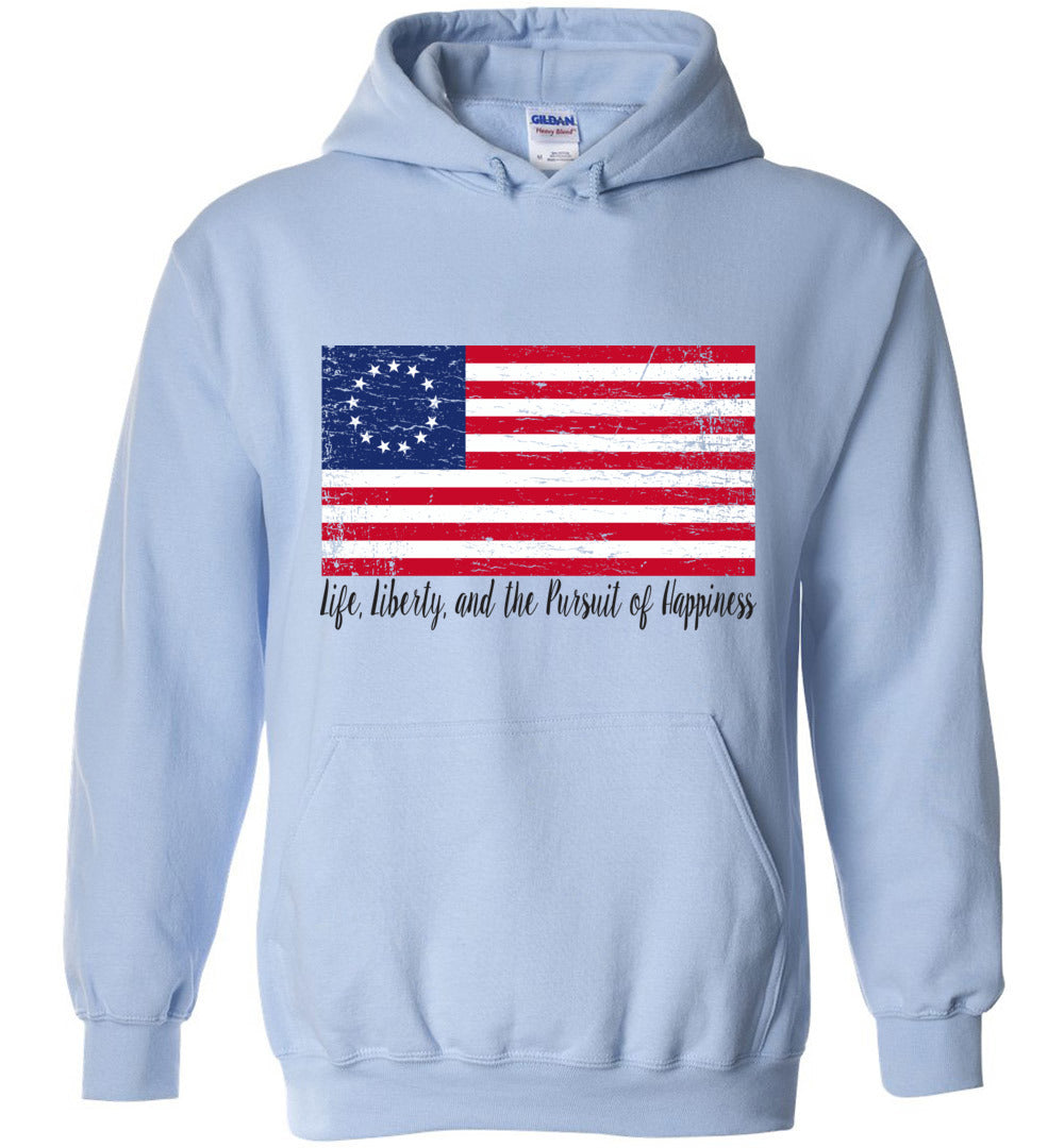 Distressed Betsy Ross Flag - Life, Liberty, and the Pursuit of Happiness Flag - Blend Hoodie - Make better shirt