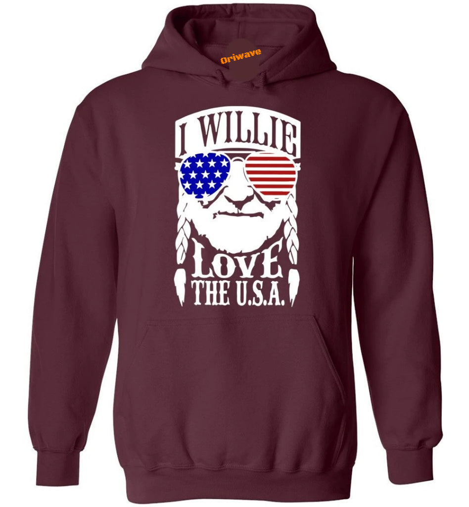I Willie Love The USA Shirts - 4th Of July Shirt Men Women - Heavy Blend Hoodie - Make better shirt