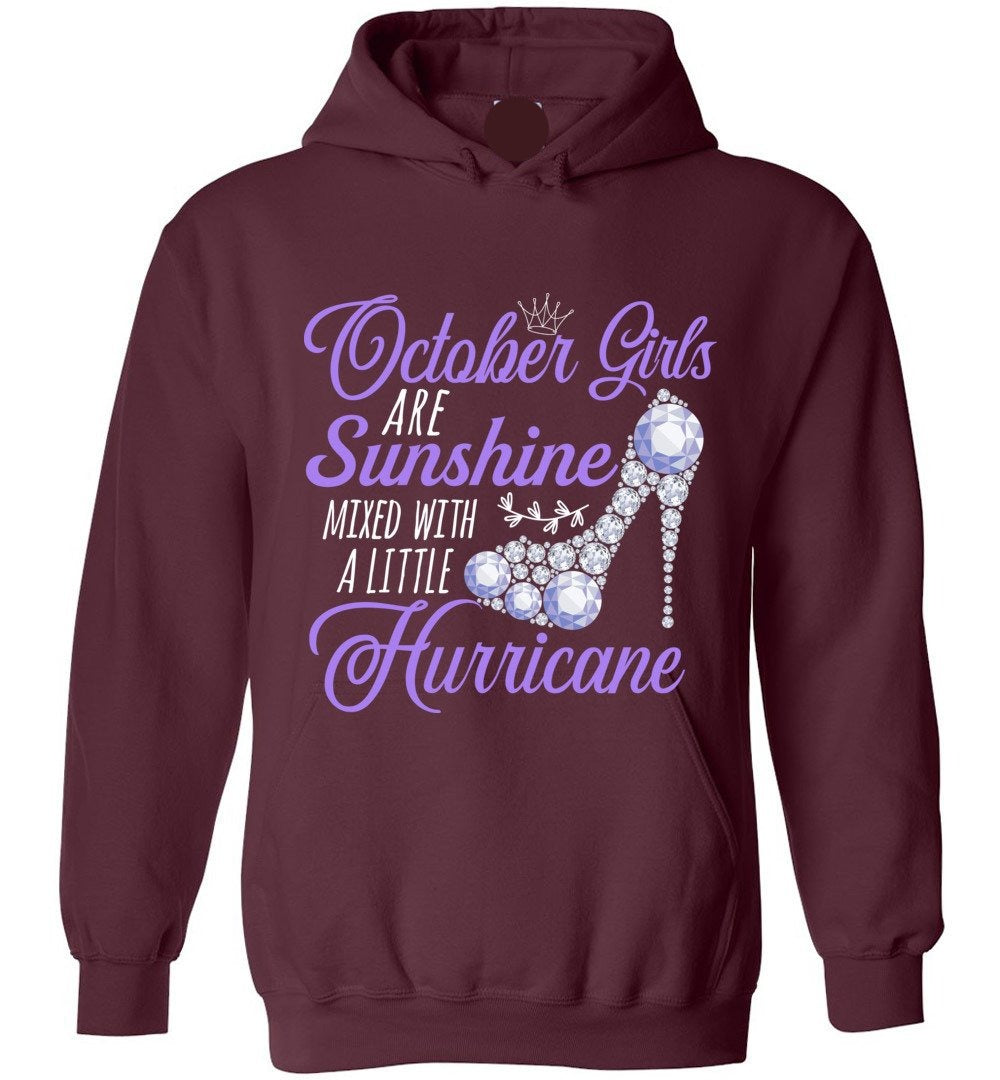 Cute October Girls Are Sunshine Mixed With A Little Hurricane - Heavy Blend Hoodie - Make better shirt