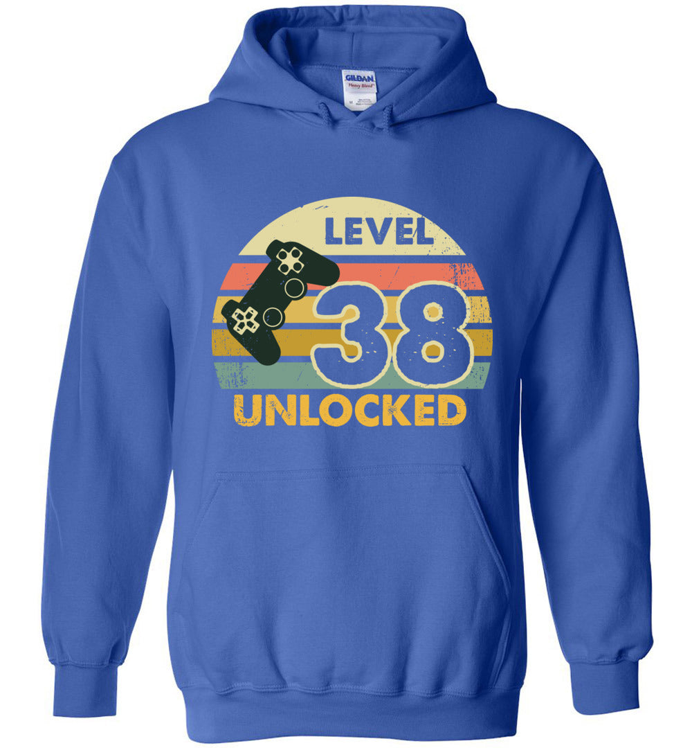 Level 38 Unlocked 38Th Birthday Gift Funny Video Game Heavy Blend Hoodie - Make better shirt