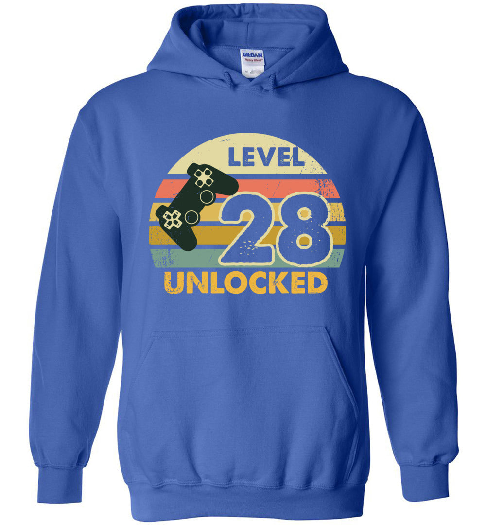 Level 28 Unlocked 28Th Birthday Gift Funny Video Game Heavy Blend Hoodie - Make better shirt