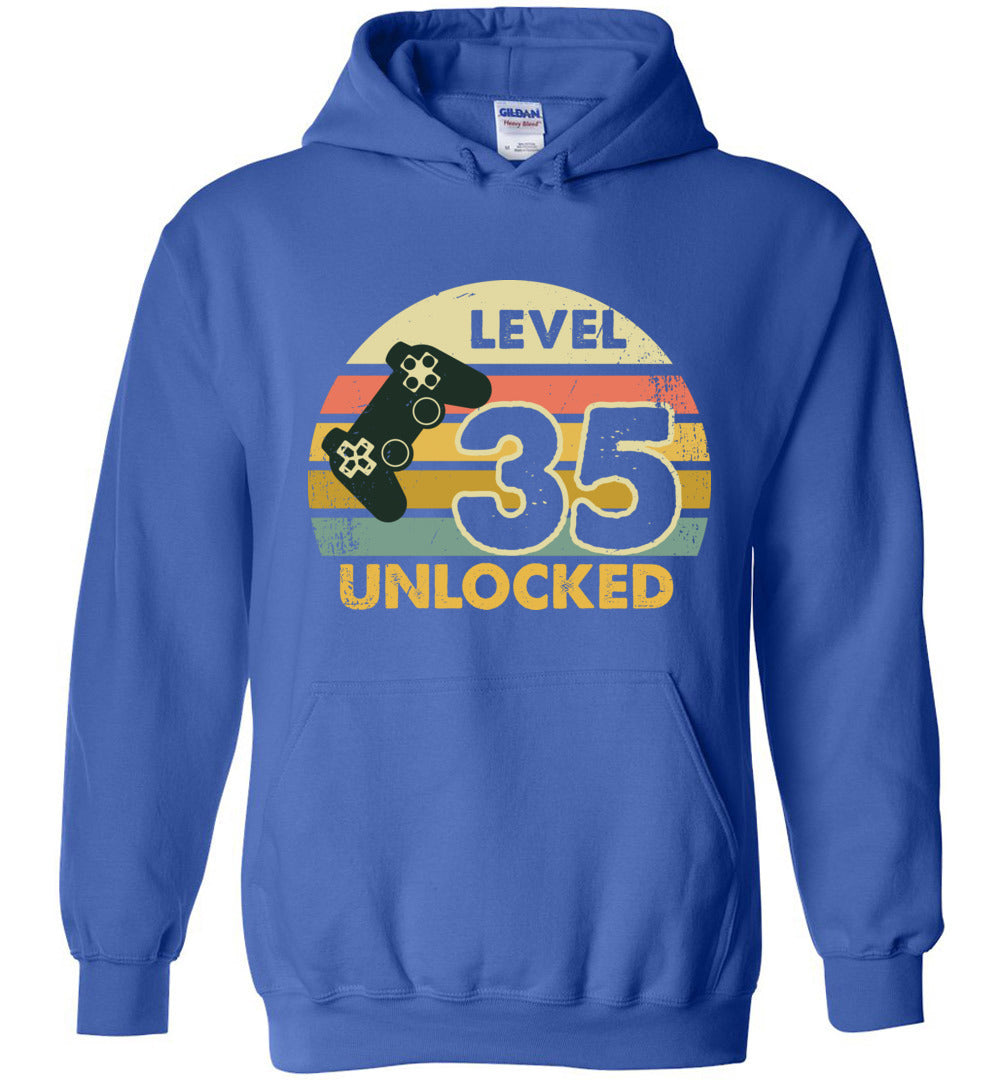 Level 35 Unlocked 35Th Birthday Gift Funny Video Game Heavy Blend Hoodie - Make better shirt