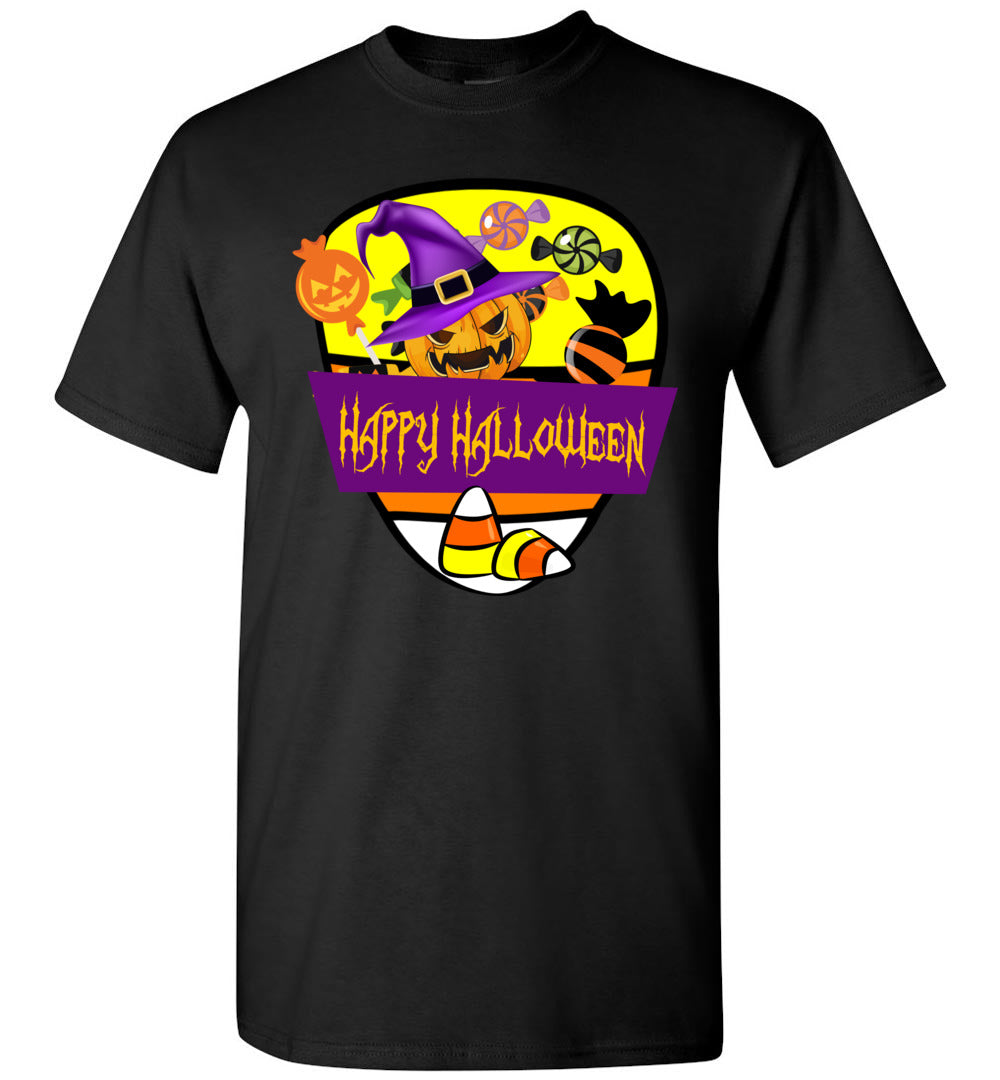 Happy Halloween Candy - Funny Men And Women Outfits - Short-Sleeve T-Shirt - Make better shirt