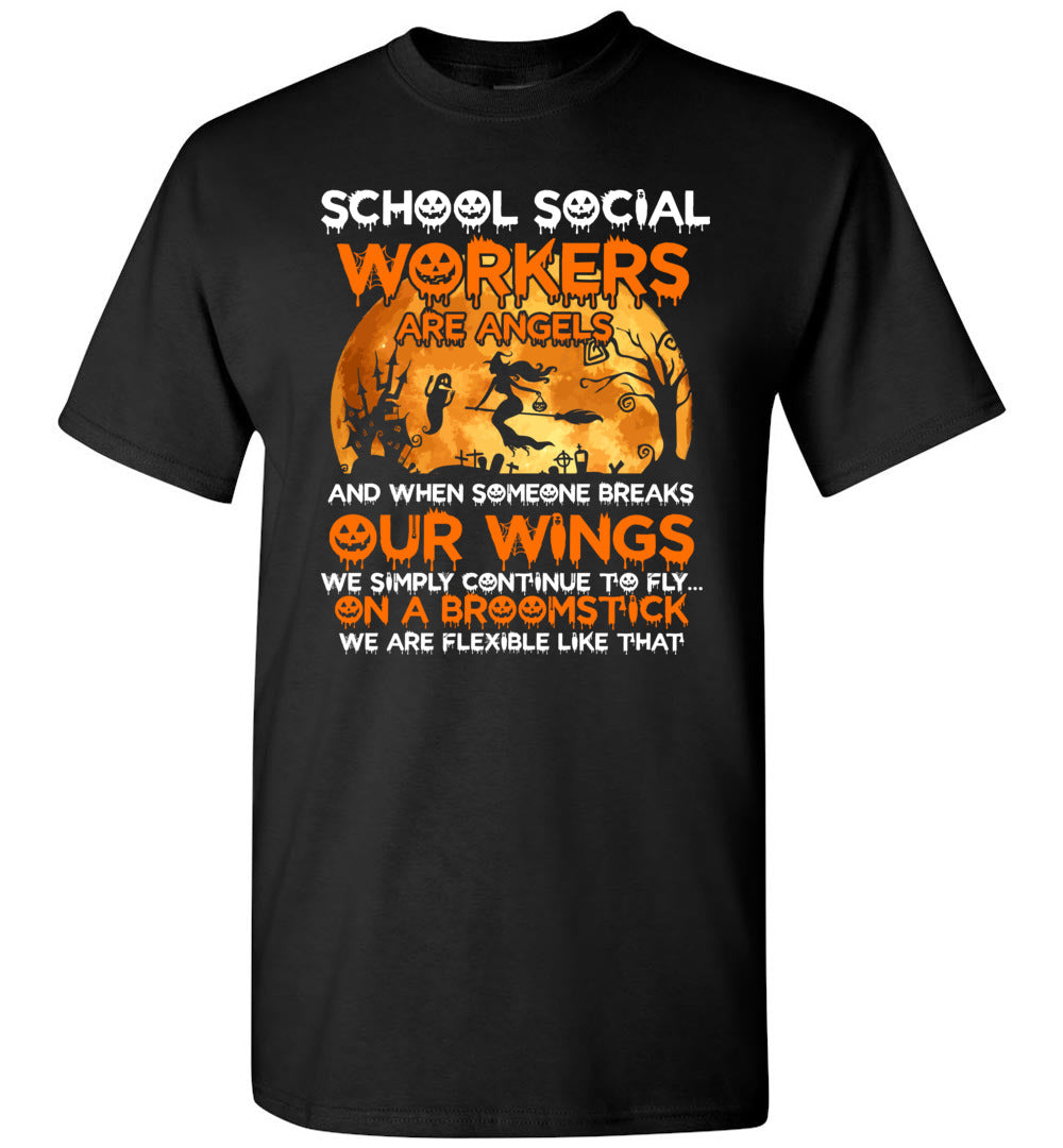School Social Workers Are Angels - Halloween Workers Gift Idea - Short-Sleeve T-Shirt - Make better shirt