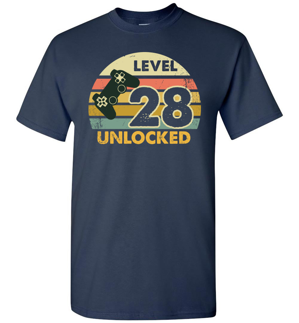 Level 28 Unlocked 28Th Birthday Gift Funny Video Game Short-Sleeve T-Shirt - Make better shirt