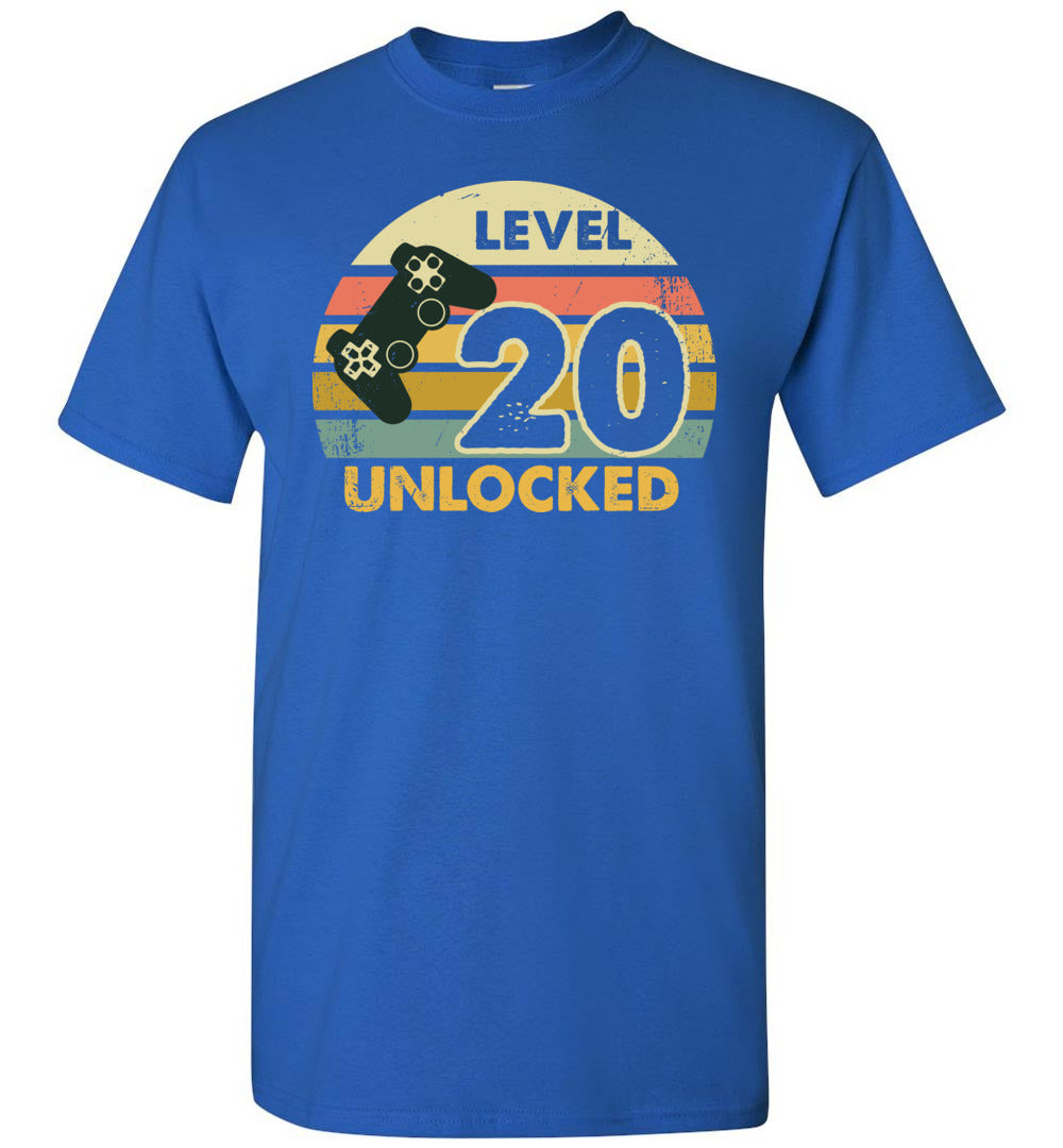 Level 20 Unlocked 20Th Birthday Funny Video Game Shirt Short-Sleeve T-Shirt - Make better shirt