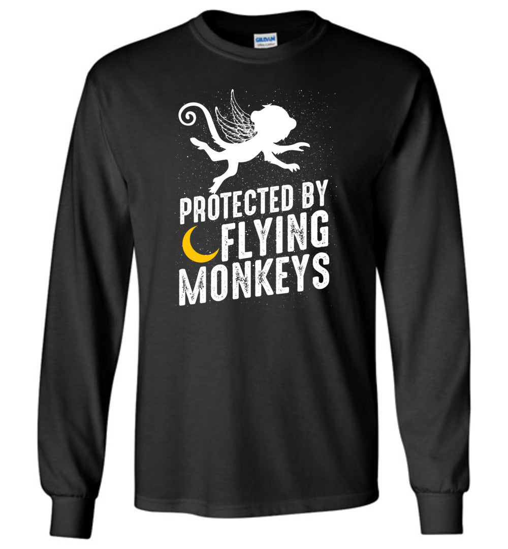 Protected By Flying Monkeys - Halloween Men And Women Gift Idea - Long Sleeve T-Shirt - Make better shirt