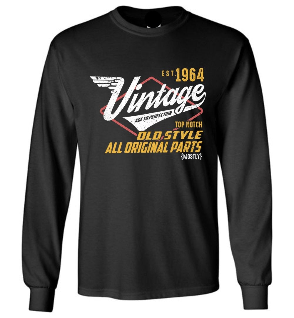 Vintage 1964 - 55TH Years Old Tees - Awesome Birthday Gift - Long Sleeve T-Shirt - Make better shirt