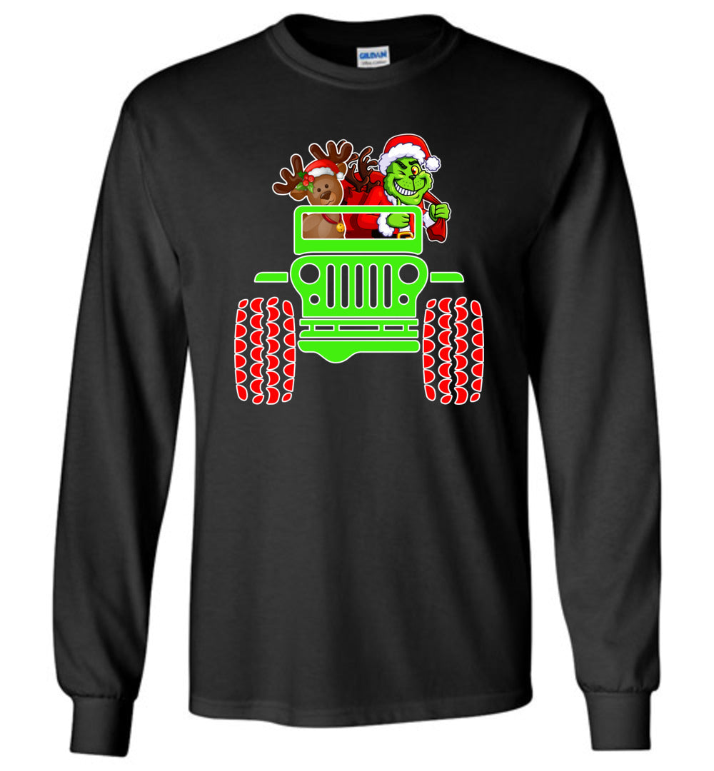 Cute Grinch And Jeep - Funny Christmas Boys And Girls Gift Idea - Long Sleeve T-Shirt - Make better shirt