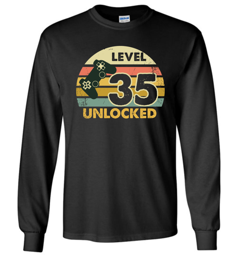 Level 35 Unlocked 35Th Birthday Gift Funny Video Game Long Sleeve T-Shirt - Make better shirt